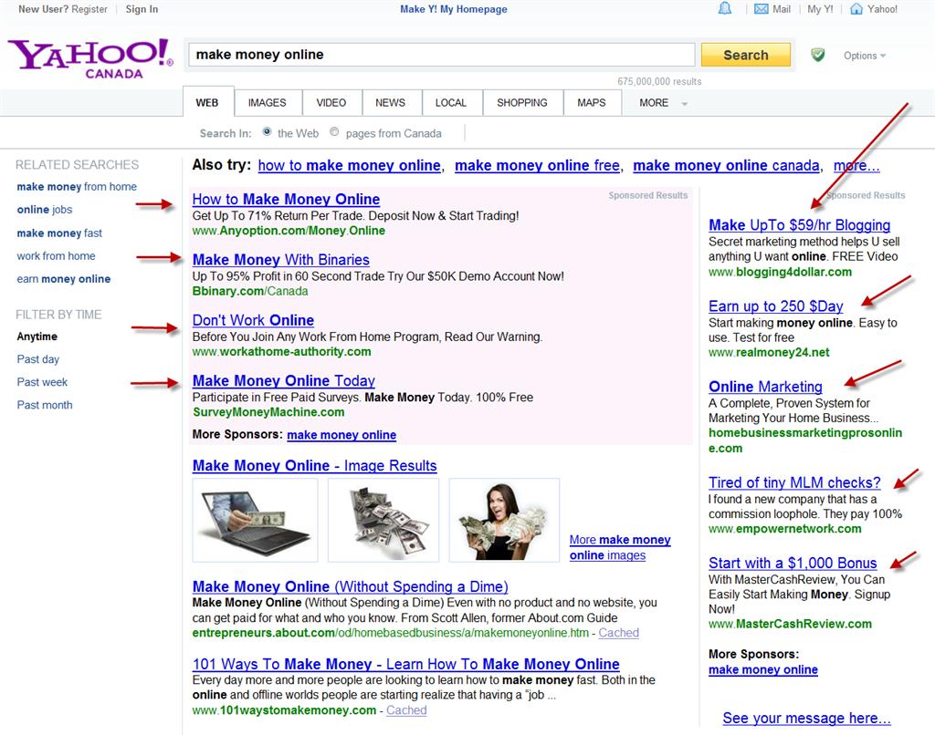 Yahoo Pay Per Click Ad Example