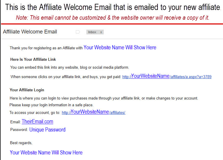 Affiliate Welcome Letter Example