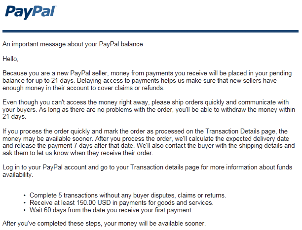 how just before subject a paypal compensation later 60 days