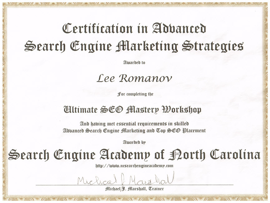 SEO Certification Lee Romanov