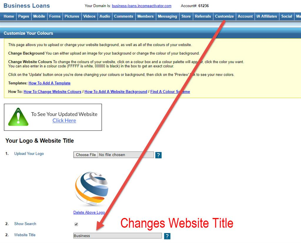 Change  website title Income Activator