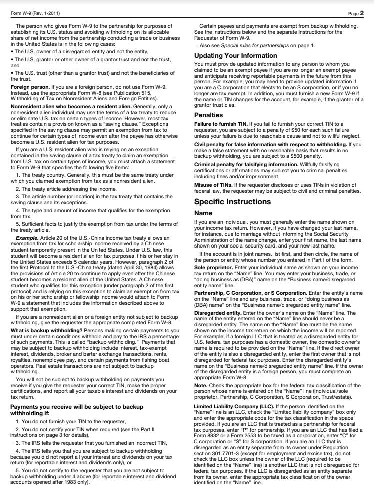 W 9  Tax form page 2