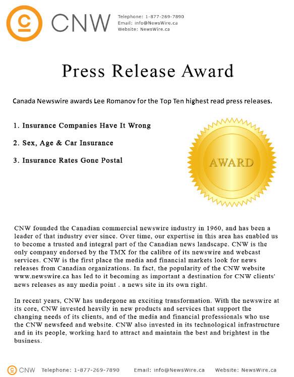 CNW top Ten Awards Lee Romanov