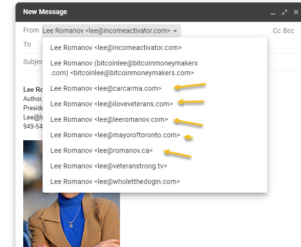 adding email names to gmail