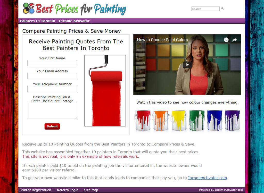 Painting website lead generation