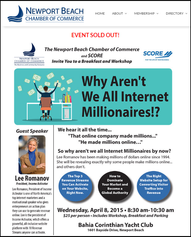 lee romanov newport beach chamber of commerce sold out seminar