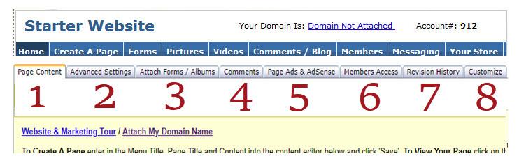 website controls